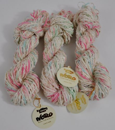 150g Nord cream textured pink and lime shades tape Japanese fancy yarn 3X Skeins